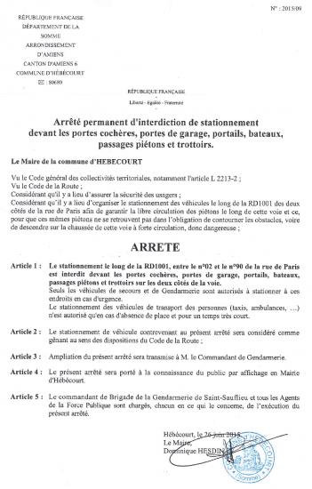 ARRETE STATIONNEMENT RUE DE PARIS